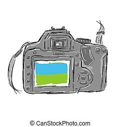 esboço, câmera, desenho, seu