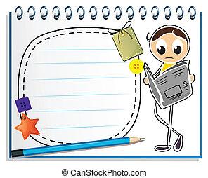 esboço, caderno, leitura, homem