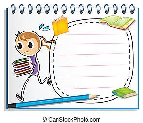 esboço, caderno, livros, executando, menina