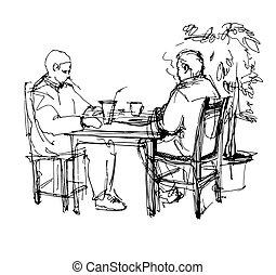 esboço, café chá, dois, tabela, bebendo, café, amigos