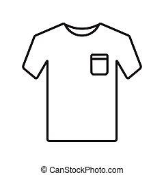 esboço, camisa, apoplexia, vetorial, t, ícone