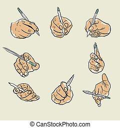 esboço, caneta, mão
