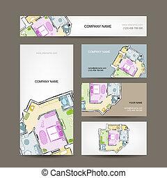 esboço, cartões negócio, apartment., seu, design.