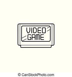 esboço, cartucho, doodle, mão, jogo, vídeo, desenhado, icon.
