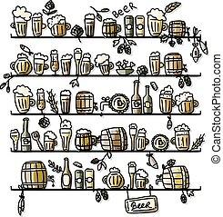 esboço, cerveja, desenho, seu, prateleiras