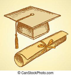 esboço, chapéu, diploma, graduação