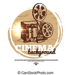 esboço, cinema, vindima, ilustração, mão, filme, desenhado, bandeira