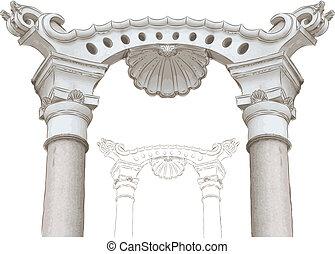 esboço, colunas, arco, clássicas