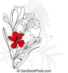 esboço, com, flores