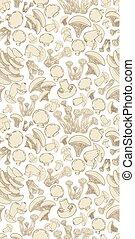 esboço, comestível, seamless, textura, cogumelos, desenho, seu