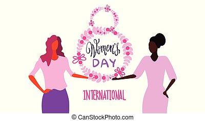 esboço, conceito, caráteres, grinalda, femininas, retrato, mistura, segurando, internacional, branca, mulheres, feliz, março, fundo, 8, floral, horizontais, dia, cartão, celebração, feriado, saudação, raça