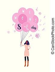 esboço, conceito, cheio, femininas, cor-de-rosa, mulheres, personagem, segurando, 8, feriado, balões, mulher feliz, março, vertical, internacional, dia, cartão, celebração, saudação, ar, comprimento
