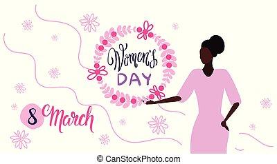 esboço, conceito, grinalda, femininas, retrato, mulheres, personagem, segurando, 8, branca, feriado, mulher feliz, março, fundo, floral, horizontais, dia, cartão, celebração, saudação, americano, africano