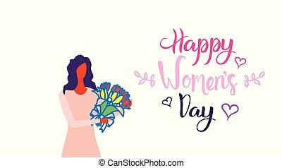 esboço, conceito, março, segurando, celebração, buquet, flores, personagem, saudação, fundo, dia, mulheres, mulher, femininas, 8, retrato, branca, feriado, horizontais, cartão, feliz