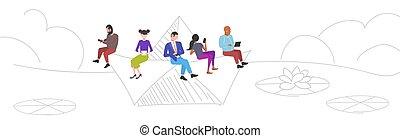 esboço, conceito, pessoas, dispositivos, computador, flutuante, bote, doodle, mistura, raça, digital, cheio, homens, viagem, usando, horizontais, mulheres, comprimento, papel, divertimento, vício, tendo
