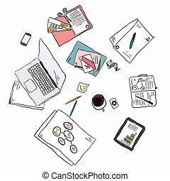 esboço, conceito, pessoas negócio, topo, ilustração, vetorial, mãos, reunião, vista