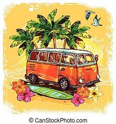 esboço, conceito, surfar, autocarro