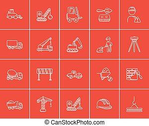 esboço, construção, set., ícone