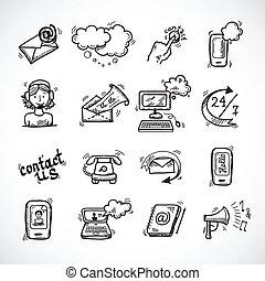 esboço, contactar-nos, ícones