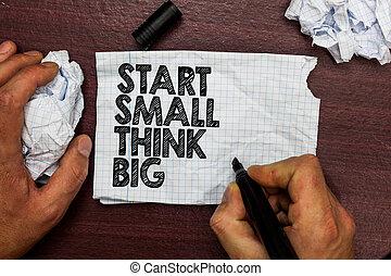 esboço, convés, foto, mente, papel, algo, ter, woody, início, coisas, rasgado, escrita, poucos, caneta, texto, conceitual, ball., negócio, mostrando, mão, ter, grande, palavra, pensar, inicie, big., pequeno, página