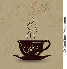 esboço, copo, seamless, café quente, vapor