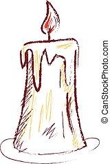 esboço, cor, ilustração, vetorial, vela, ou