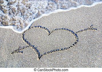 esboço coração, contra, onda, praia areia