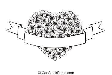 esboço coração, festivo, forma., imprimindo, pretas, saudações, flores brancas, fita