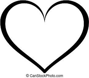 esboço, coração, icon.