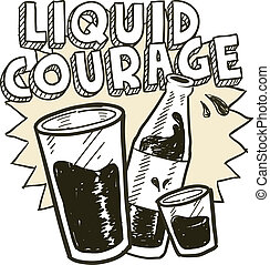 esboço, coragem, álcool, líquido