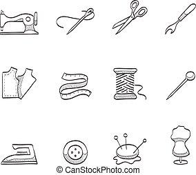 esboço, cosendo, -, ícones