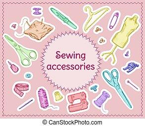 esboço, cosendo, ferramentas, colorido, jogo
