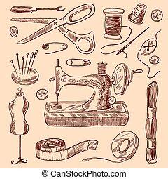 esboço, cosendo, jogo, ícones
