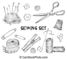 esboço, cosendo, jogo