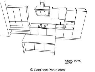 esboço, cozinha, mobília