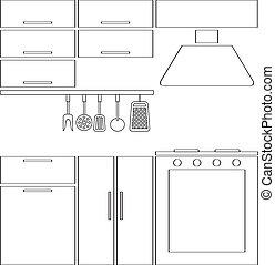 esboço, cozinha, silueta
