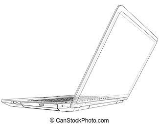 esboço, criado, laptop, ilustração, vetorial, computer., 3d.