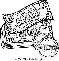 esboço, custos, cuidado saúde