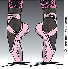 esboço, dancer's, balé, ilustração, vetorial, feet.
