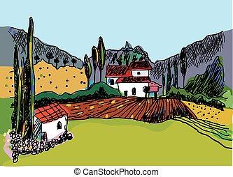 esboço, de, a, paisagem, com, a, fazenda, -, natureza, e, casas