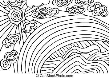 esboço, de, abstratos, sol, e, clouds., vetorial, ilustração