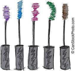 esboço, de, cílio, brush., vetorial, ilustração