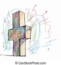 esboço, de, crucifixos