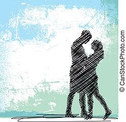 esboço, de, dançar, par., vetorial, ilustração