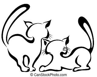 esboço, de, dois, gatos