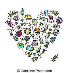 esboço, de, floral, coração, para, seu, desenho