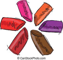 esboço, de, lipsticks., vetorial, ilustração