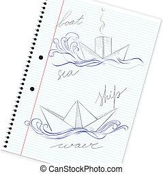 esboço, de, mão, desenhado, navio