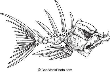 esboço, de, mal, esqueleto, peixe, com, dentes afiados