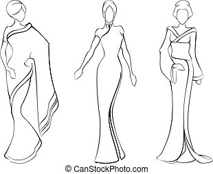 esboço, de, mulheres, em, tradicional, asiático, vestidos
